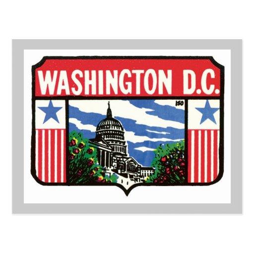 Vintage Travel Washington D.C. State Label Art Postcard