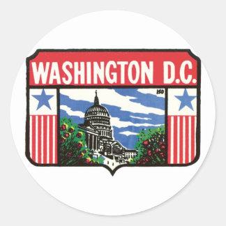 Vintage Travel Washington D.C. State Label Art Round Sticker