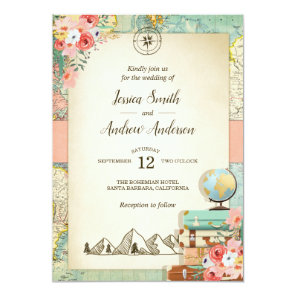 Vintage Travel Wedding Invitation Rustic map Boho