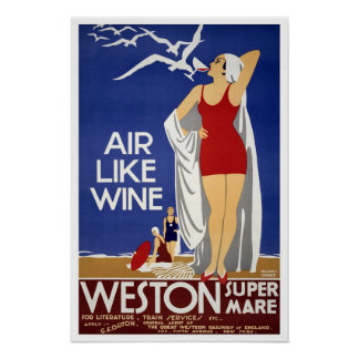Vintage travel,Weston-super-Mare Poster