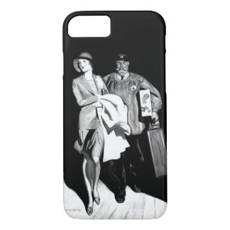 Vintage Travel Woman Bellhop Suitcase Luggage Man iPhone 8/7 Case