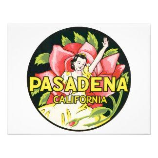 Vintage Travel Woman Roses Pasadena California Announcements