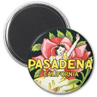Vintage Travel Woman Roses Pasadena California Refrigerator Magnets