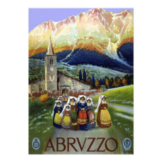 Vintage Travel Women of Abruzzo Italy Personalized Announcement