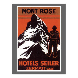 Vintage Travel Zermatt Switzerland Hotel Label Postcard