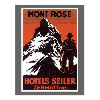 Vintage Travel Zermatt Switzerland Hotel Label Postcard