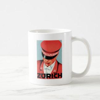 Vintage Travel Zurich Switzerland Label Art Coffee Mug