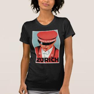 Vintage Travel Zurich Switzerland Label Art Tshirts