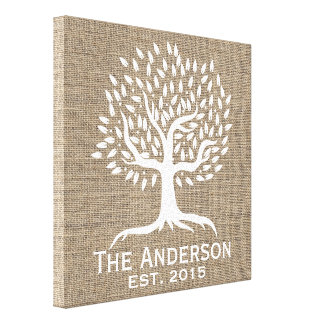 Vintage Tree Family Established Family Name Burlap Stretched Canvas Prints