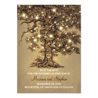 """Vintage Tree Lights Rustic Save The Date Invites 4.5"""" X 6.25"""" Invitation Card"""