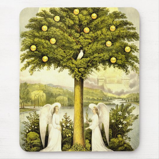 Vintage Tree of Life Christian Illustration 1892 Mouse Mat