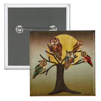 Vintage Tree of Night Owls Button