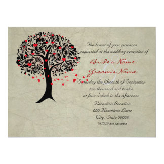 Vintage Tree of Red Hearts Wedding Reception 17 Cm X 22 Cm Invitation Card