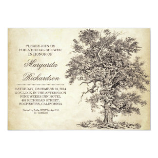 vintage tree old aged bridal shower invitations