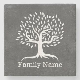 Vintage Tree Rustic Chalkboard Family Name Stone Beverage Coaster