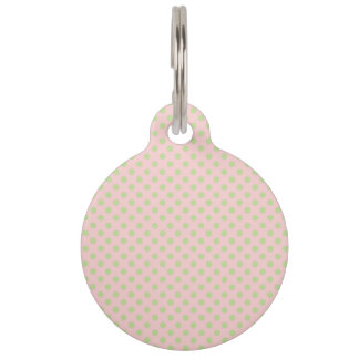 Vintage Trendy Baby Pink Green Polka Dots Pattern Pet Nametags