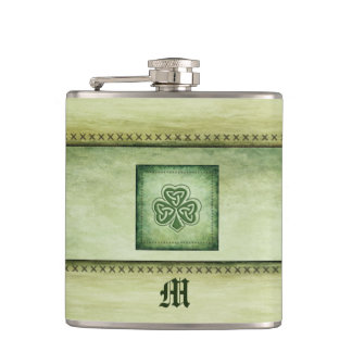 Vintage trendy grundge Irish shamrock Hip Flask