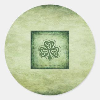Vintage trendy grundge Irish shamrock Round Sticker