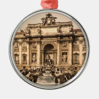 Vintage Trevi Fountain, Rome, Lazio, Italy Silver-Colored Round Decoration