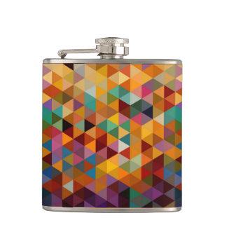 Vintage Triangles Pattern Background. Hip Flask