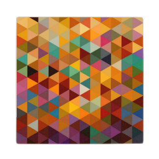 Vintage Triangles Pattern Background. Wood Coaster