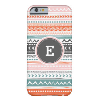 Vintage Tribal Pattern Monogram iPhone Case. Barely There iPhone 6 Case