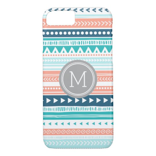Vintage Tribal Stripes Pattern Coral Blue Monogram iPhone 8/7 Case