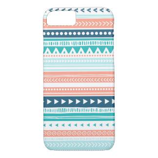 Vintage Tribal Stripes Pattern Coral Blue Teal iPhone 8/7 Case