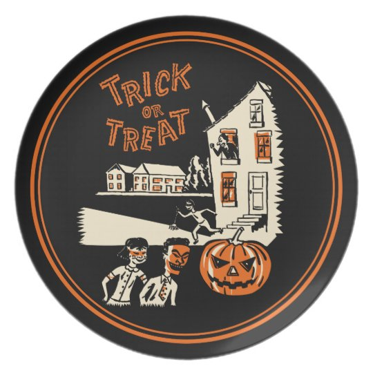 Vintage Trick Or Treat 1960s Halloween Plate