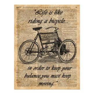 Vintage Tricycle Dictionary Art Bicycle Quote 21.5 Cm X 28 Cm Flyer