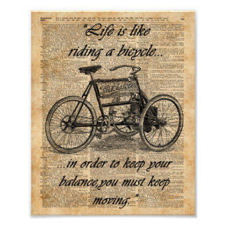 Vintage Tricycle Dictionary Art Bicycle Quote Photographic Print