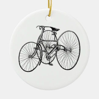 Vintage Tricycle - Three wheel bicycle Round Ceramic Decoration