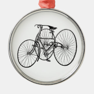 Vintage Tricycle - Three wheel bicycle Silver-Colored Round Decoration