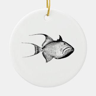Vintage Trigger Fish Antique Hawaiian Print Blank Round Ceramic Decoration
