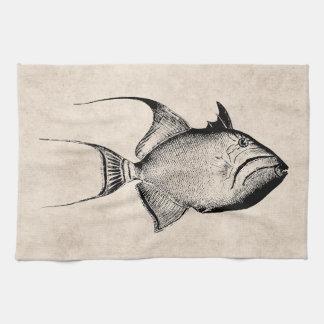 Vintage Trigger Fish Antique Hawaiian Print Tea Towel