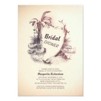 vintage tropical beach | bridal shower invite
