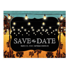 Vintage Tropical Beach Palm Hawaiian Save the Date