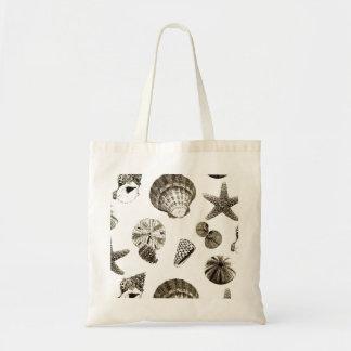 vintage tropical beach seashell wedding budget tote bag