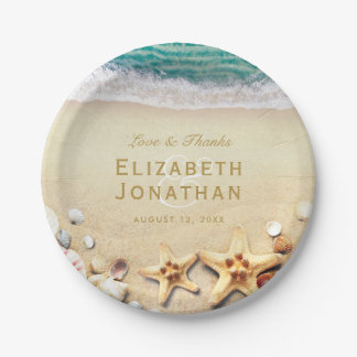 Vintage Tropical Beach Starfish Wedding Collection Paper Plate