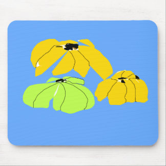 Vintage Tropical floral sky blue yellow pale green Mouse Pad