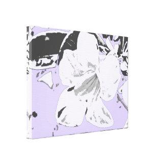 Vintage Tropical floral violet black Stretched Canvas Print