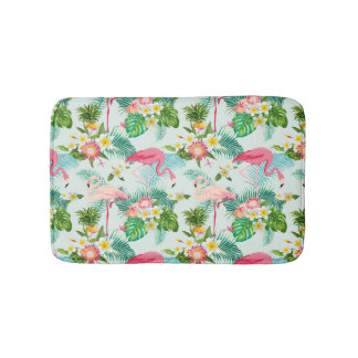 Vintage Tropical Flowers And Birds Bath Mat