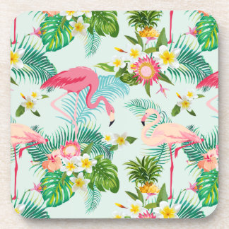 Vintage Tropical Flowers And Birds Beverage Coaster