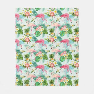 Vintage Tropical Flowers And Birds Fleece Blanket
