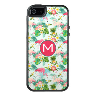 Vintage Tropical Flowers And Birds | Monogram OtterBox iPhone 5/5s/SE Case