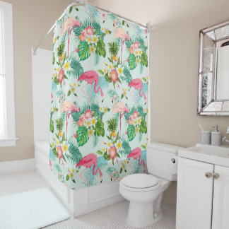 Vintage Tropical Flowers And Birds Shower Curtain