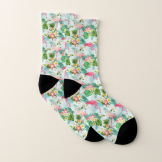 Vintage Tropical Flowers And Birds Socks