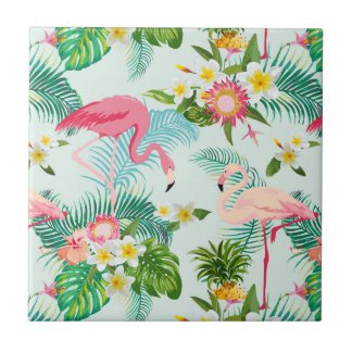 Vintage Tropical Flowers And Birds Tile