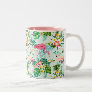 Vintage Tropical Flowers And Birds Two-Tone Coffee Mug