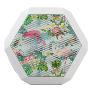 Vintage Tropical Flowers And Birds White Bluetooth Speaker
